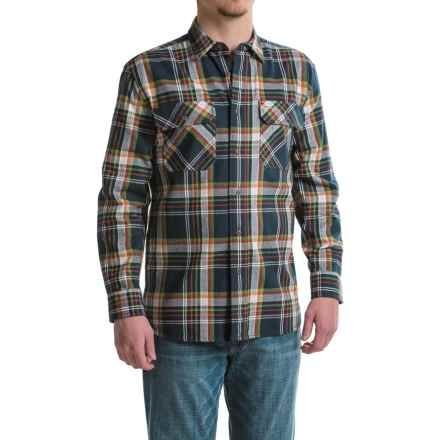 Pendleton Burnside Flannel Shirt - Long Sleeve (For Men) in Navy/Orange Plaid - Closeouts