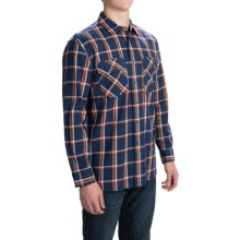 Pendleton Burnside Flannel Shirt - Long Sleeve (For Men) in Navy/Terra Cotta Plaid - Closeouts