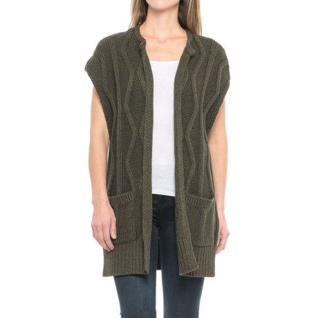 Pendleton Cable Vest Cardigan - Sleeveless (For Women) in Charcoal/Olive Multi
