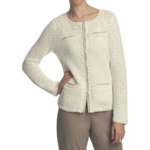 Pendleton Cafe Chic Cardigan Sweater - Cotton-Linen (For Women) in Ivory/Oxford Tan - Closeouts