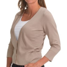 Pendleton Can-Do Cardigan Sweater- 3/4 Sleeve (For Women) in Oxford Tan - Closeouts