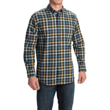 Pendleton Canterbury Cloth Shirt - Pima Cotton-Merino Wool, Long Sleeve (For Men) in Navy/Gold/Blue Check - Closeouts