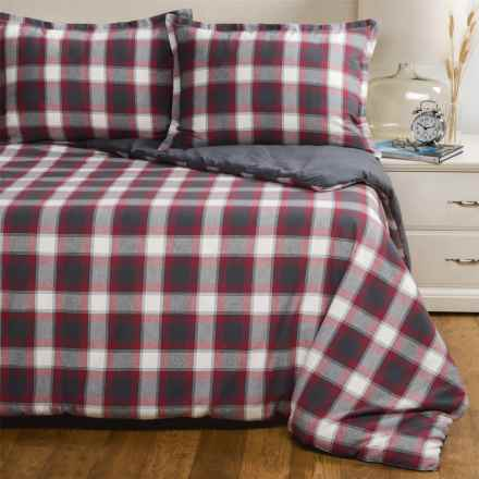 Pendleton Carlton Brushed Flannel Plaid Comforter Set - Queen in Red/Grey - Closeouts