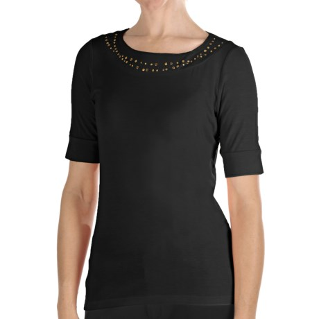 Pendleton Casey Stud Accent T-Shirt - Stretch Modal, Elbow Sleeve (For Women) in Black