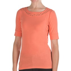 Pendleton Casey Stud Accent T-Shirt - Stretch Modal, Elbow Sleeve (For Women) in Celery