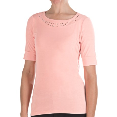 Pendleton Casey Stud Accent T-Shirt - Stretch Modal, Elbow Sleeve (For Women) in Sugar Pink