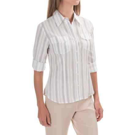 Pendleton Chevron-Stripe Shirt - Button Up, Long Sleeve (For Women) in White/Blue - Closeouts