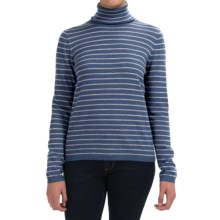 Pendleton Classic Stripe Turtleneck - Merino Wool, Long Sleeve (For Women) in Blue Indigo Heather/Soft Grey Heather - Closeouts