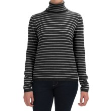 Pendleton Classic Stripe Turtleneck - Merino Wool, Long Sleeve (For Women) in Charcoal Heather/Soft Grey Heather - Closeouts
