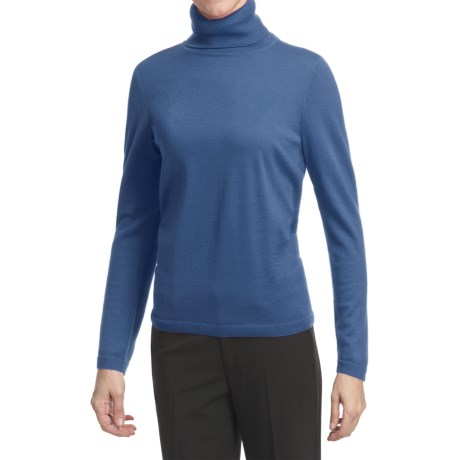 Pendleton Classic Turtleneck Sweater - Merino Wool (For Women) in Blue