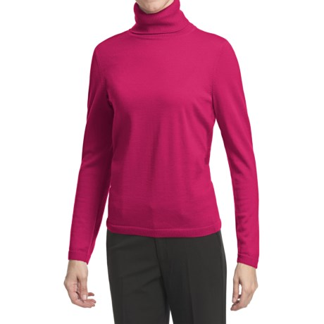 Pendleton Classic Turtleneck Sweater - Merino Wool (For Women) in Cherry Pink