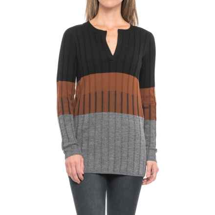 Pendleton Color-Block Tunic Sweater - Merino Wool (For Women) in Black/Brown Multi - Closeouts