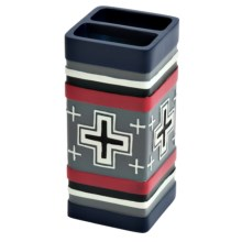 Pendleton Compass Hand-Painted Toothbrush Holder in Blue/Red - Closeouts