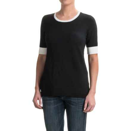 Pendleton Contrast Trim Sweater - Merino Wool, Short Sleeve (For Women) in Black - Closeouts
