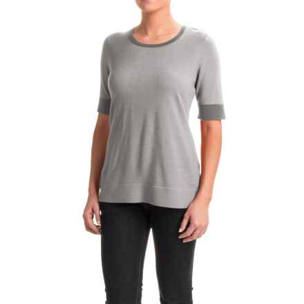 Pendleton Contrast Trim Sweater - Merino Wool, Short Sleeve (For Women) in Grey - Closeouts