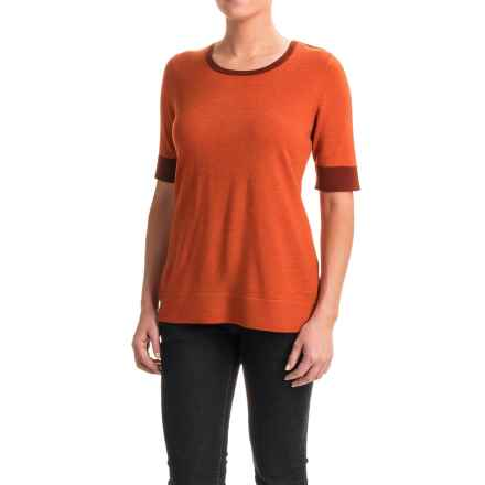 Pendleton Contrast Trim Sweater - Merino Wool, Short Sleeve (For Women) in Orange - Closeouts