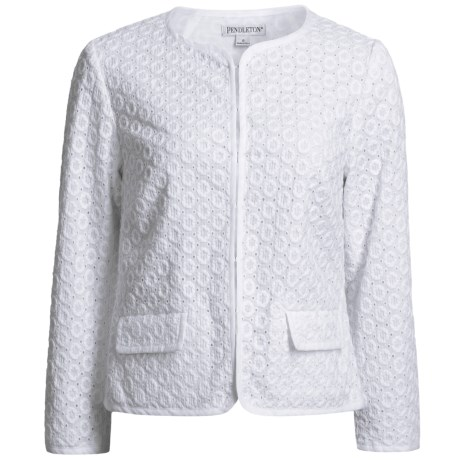 Pendleton Cotton Eyelet Jacket (For Women) in White