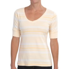 Pendleton Cotton Rib Stripe T-Shirt - Short Sleeve (For Women) in White/Cornsilk - Closeouts