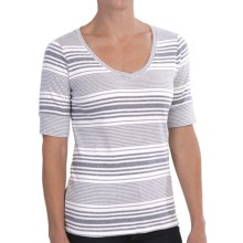 Pendleton Cotton Rib Stripe T-Shirt - Short Sleeve (For Women) in White/Indigo - Closeouts
