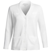 Pendleton Coventry Cardigan Sweater - Cotton (For Plus Size Women) in White - Closeouts