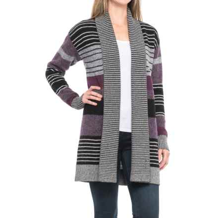 Pendleton Cozy Striped Cardigan Sweater - Wool (For Women) in Charcoal Multi Stripe - Closeouts