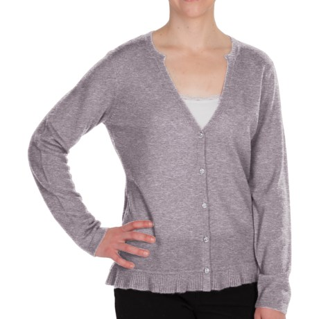 Pendleton Crème De Cashmere Cardigan Sweater - V-Neck (For Women) in Soft Grey