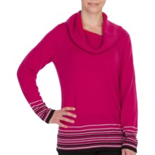 Pendleton Crème De Cashmere Stripe Sweater - Cowl Neck (For Women) in Cherry Pink - Closeouts