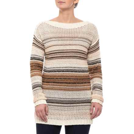 120a1807002501 Pendleton Cream Brown Multi-Stripe Honeycomb Tunic Sweater - Long Sleeve  (For Women