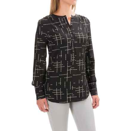Pendleton Day and Night Silk Tunic Blouse - Long Sleeve (For Women) in Black Grid Print - Closeouts