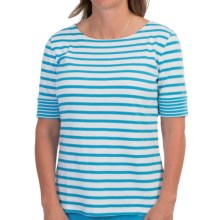 Pendleton Double Stripe Cotton Rib T-Shirt - Short Sleeve (For Women) in White/Carolina Blue - Closeouts