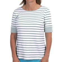 Pendleton Double Stripe Cotton Rib T-Shirt - Short Sleeve (For Women) in White/Mystic Blue - Closeouts