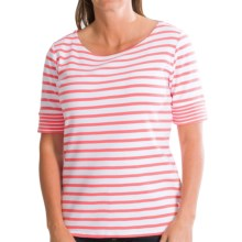 Pendleton Double Stripe Cotton Rib T-Shirt - Short Sleeve (For Women) in White/Salmonberry - Closeouts