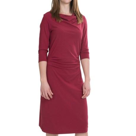 Pendleton Drape Neck Dress - Stretch Cotton-Modal, 3/4 Sleeve (For Women) in Claret