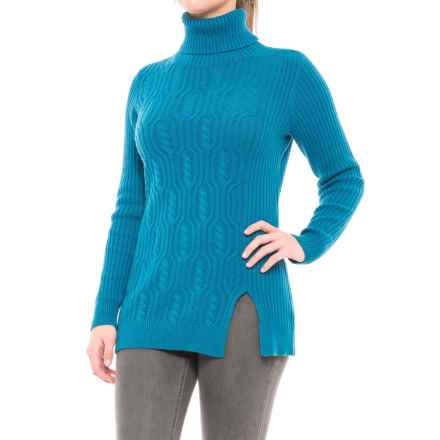 Pendleton Everyday Luxe Tunic Turtleneck Sweater - Merino Wool Blend (For Women) in Celestial Blue - Closeouts
