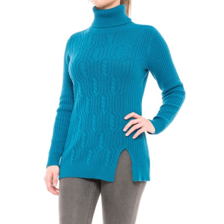 Pendleton Everyday Luxe Tunic Turtleneck Sweater - Merino Wool Blend (For Women) in Celestial Blue