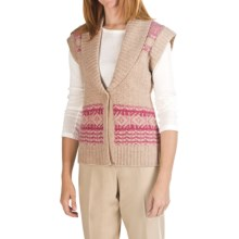 Pendleton Fair Isle Lambswool Cardigan Sweater - Sleeveless (For Women) in Light Cameo - Closeouts