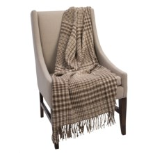Pendleton Fringed Alpaca-Wool Throw Blanket in Houndstooth Plaid - Closeouts