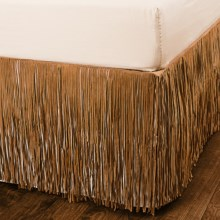 Pendleton Fringed Suede Bed Skirt - Queen in Camel - Closeouts