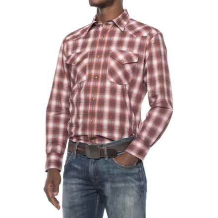 Pendleton Frontier Western Shirt - Snap Front, Long Sleeve (For Men) in Brick Red/Grey Plaid - Closeouts