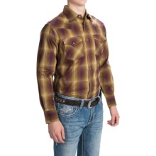 Pendleton Frontier Western Shirt - Snap Front, Long Sleeve (For Men) in Bronze/Tan/Purple Ombre - Closeouts