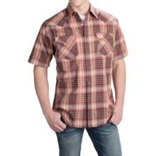 Pendleton Frontier Western Shirt - Snap Front, Short Sleeve (For Men) in Maroon/Green/Gold Ombre - Closeouts