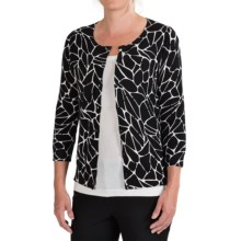 Pendleton Geo Print Cotton Cardigan Sweater- 3/4 Sleeve (For Women) in Black/Ivory - Closeouts