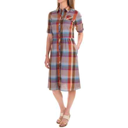 Pendleton Hailey Knee-Length Cotton Dress - Elbow Sleeve (For Women) in Sunset Canyon Plaid - Closeouts