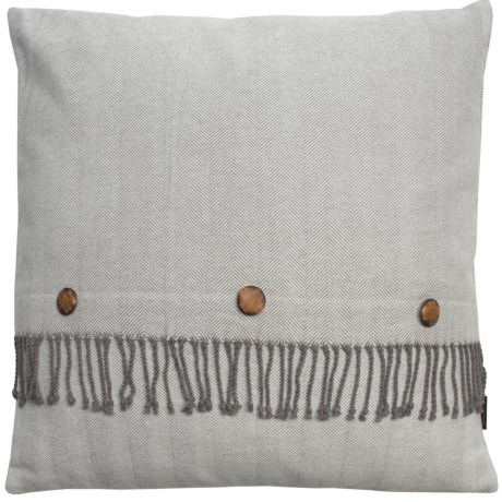 "Pendleton Herringbone Fringe Decor Pillow - 26x26"" in Grey"