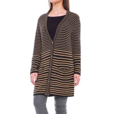 Pendleton Horizon Stripe Cardigan Sweater - Merino Wool (For Women) in Camel/Black - Closeouts