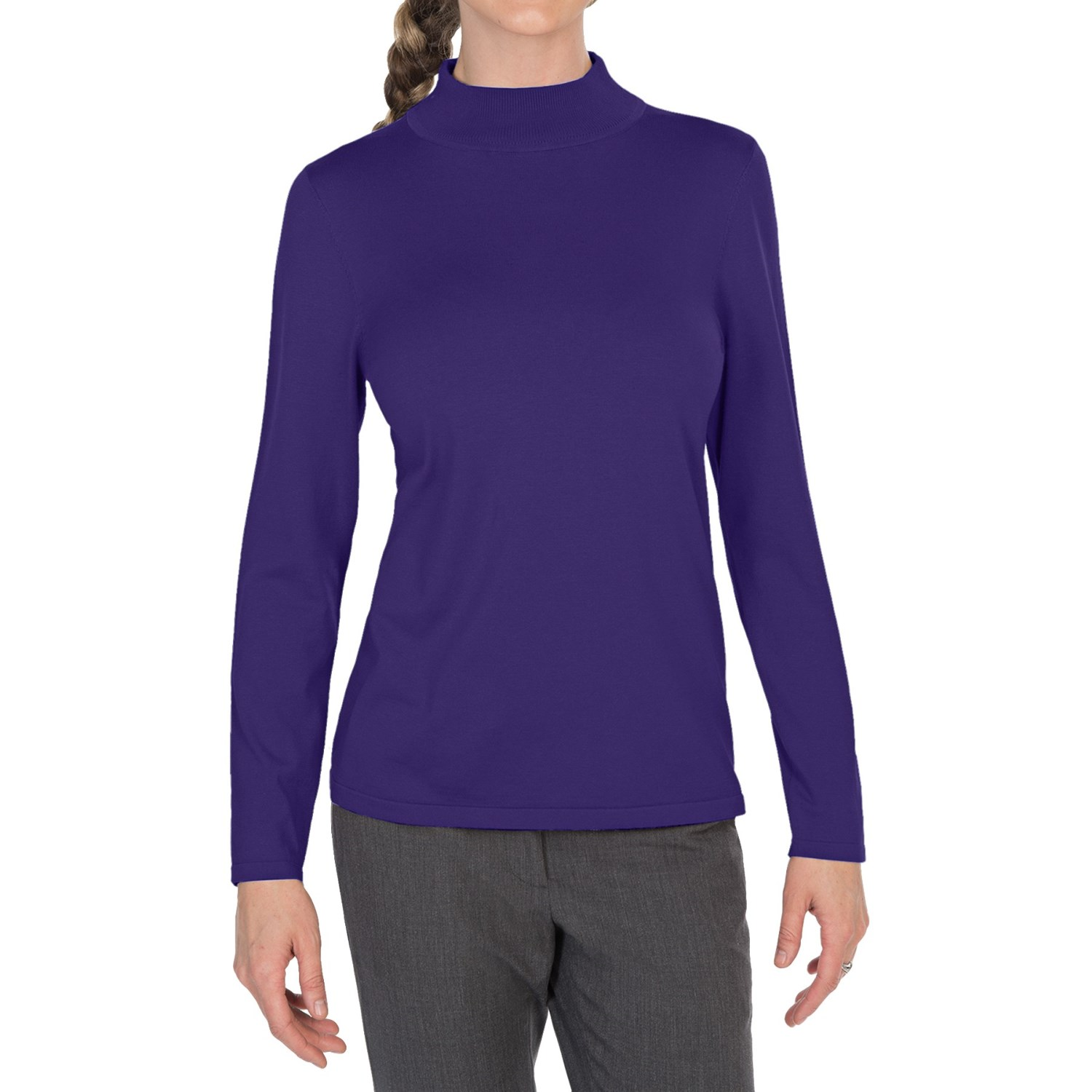 % Silk Heavy Weight Womens Mock Turtleneck Half Sleeve Shirt Top Blouse Made from % Mulberry silk Knit Knit fabric, very stretchy to fit you body well,warm and comfortable Mock turtle neck and half length sleeve.