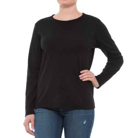 Pendleton Jewel Neck Cotton T-Shirt - Long Sleeve (For Women) in Black - Closeouts