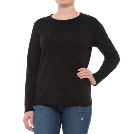 Pendleton Jewel Neck Cotton T-Shirt - Long Sleeve (For Women) in Black