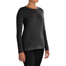 Pendleton Jewel Neck Cotton T-Shirt - Long Sleeve (For Women) in Charcoal Heather - Closeouts