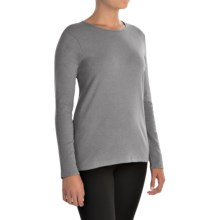Pendleton Jewel Neck Cotton T-Shirt - Long Sleeve (For Women) in Grey Heather - Closeouts